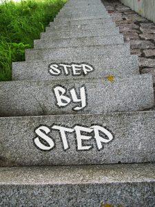 Stap voor stap op trap geschilderd